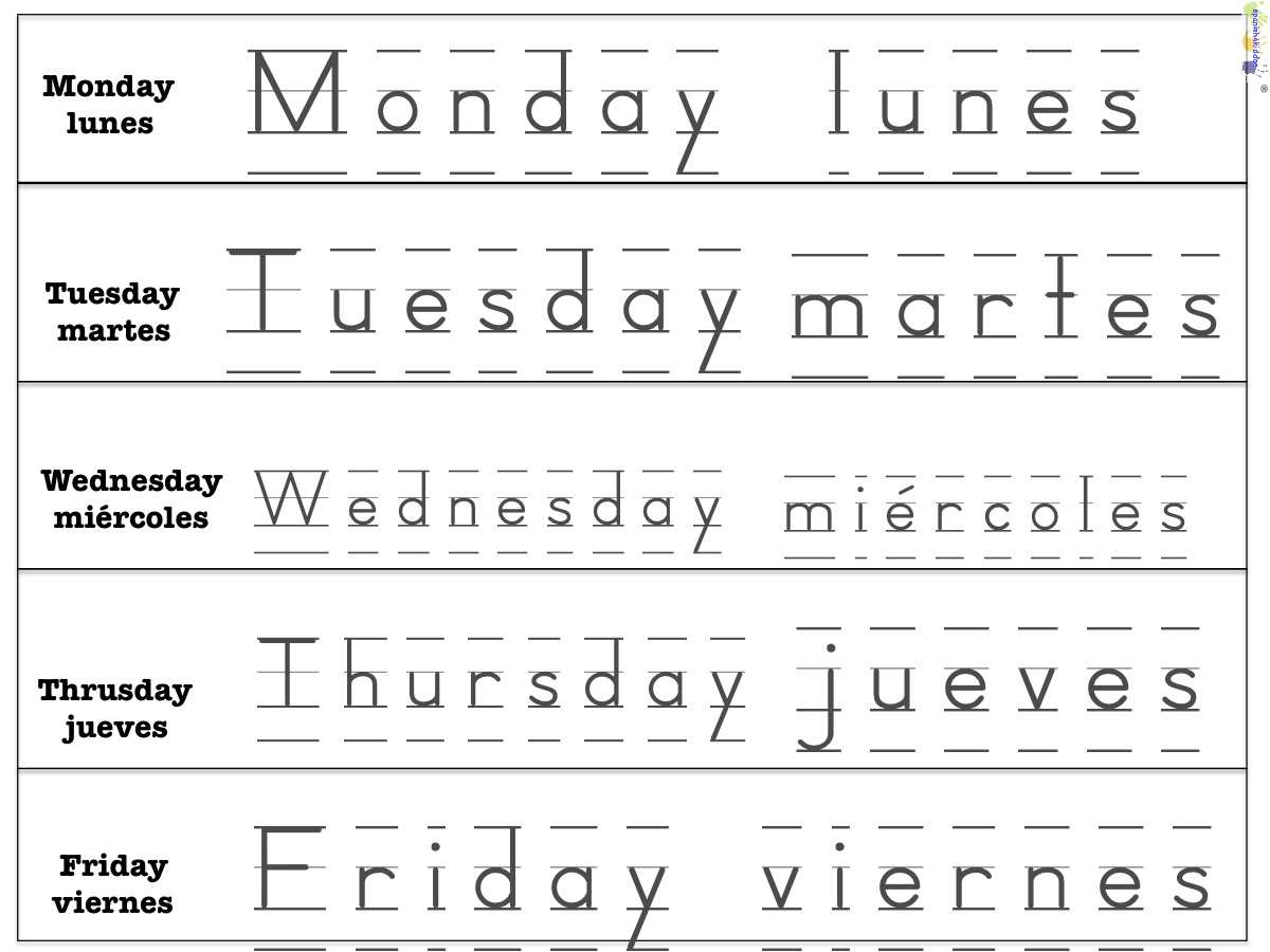 Weekdays • Spanish4Kiddos Educational Resources