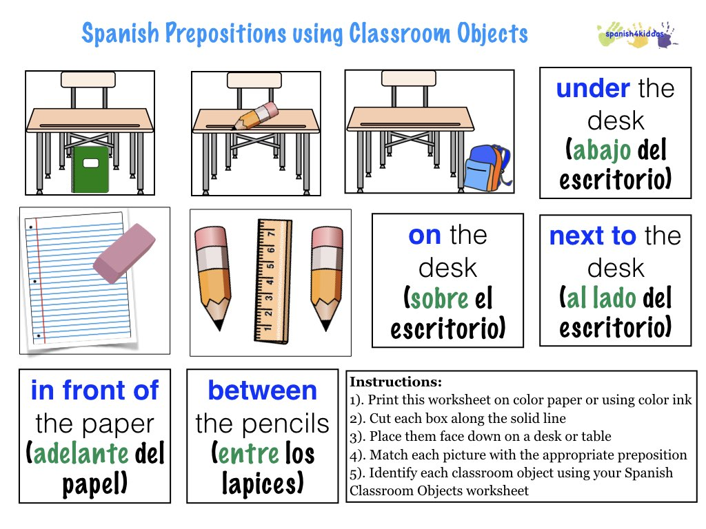 worksheet Spanish Prepositions Worksheet spanish prepositions spanish4kiddos educational resources prepositions